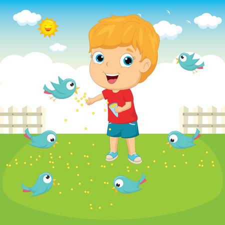 small flock: Vector Illustration Of A Kid Feeding Birds Illustration