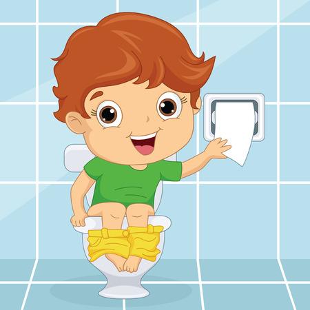 Vector Illustratie Van een kind bij Toilet Stock Illustratie