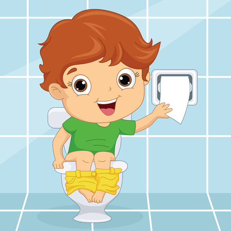 Vector Illustration Of A Kid At Toilet