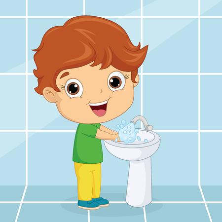 Vector Illustration Of A Kid Washing Hands