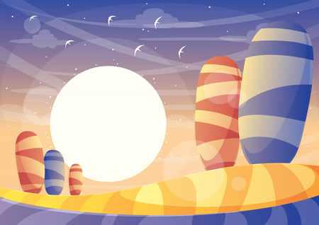 Sunset Landscape Illustration
