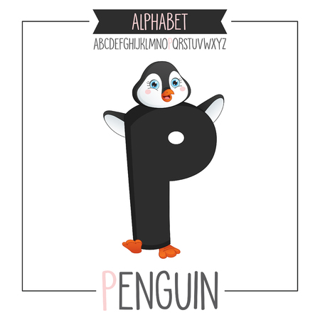 Illustrated Alphabet Letter P And Penguin