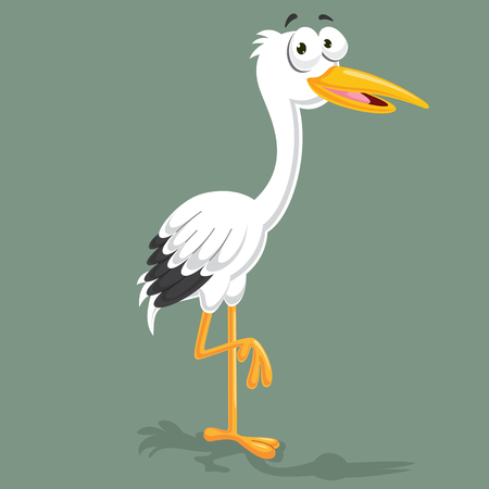Stork Vector Illustration isolated on color background.