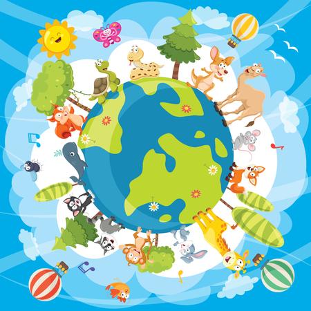 Illustrazione vettoriale di animali del mondo