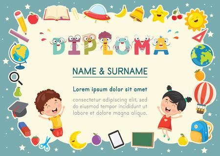 Vector Illustration Of Preschool Kids Diploma Illustration