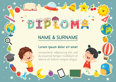 Vector Illustration Of Preschool Kids Diploma Çizim