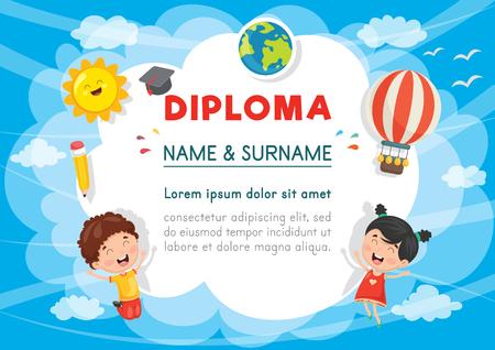 Vector Illustration Of Preschool Kids Diploma  イラスト・ベクター素材