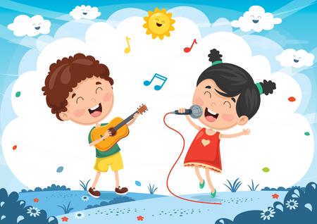 Vector Illustration Of Kids Playing Music Illustration