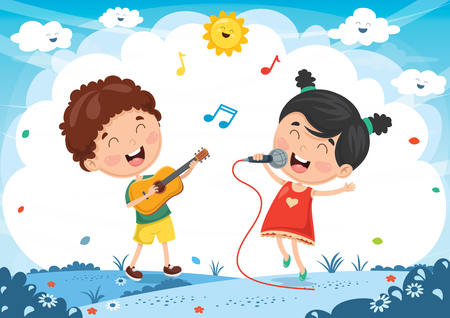 Vector Illustration Of Kids Playing Music Vettoriali