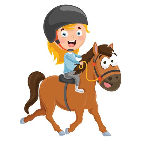 Vector Illustration Of Kid Riding Horse  イラスト・ベクター素材