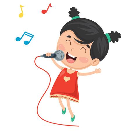 Vector Illustration Of Kid Singing