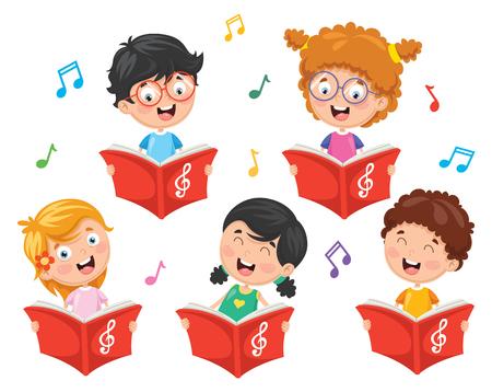 Vector Illustration Of Kids Choir Illustration