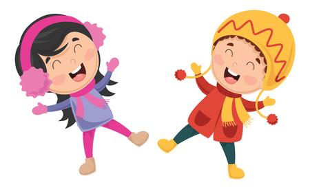 Vector Illustration Of Winter Kids Illustration