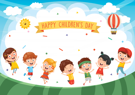 Happy Children Day banner with lots of happy kids design
