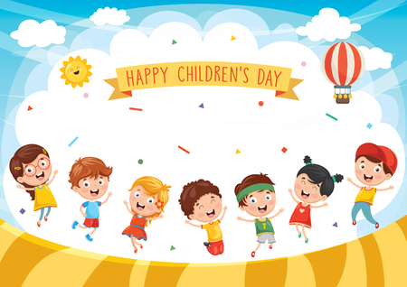 Happy Kids Playing Illustration