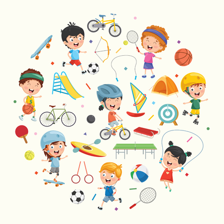 Collection of kids and sport equipment vector illustration. Ilustração