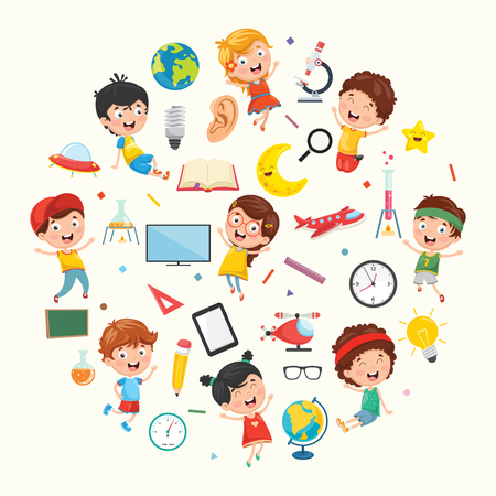 Collection of kids and Science vector illustration. Иллюстрация