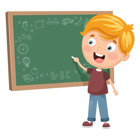 Vector illustration of a kid writing on blackboard.