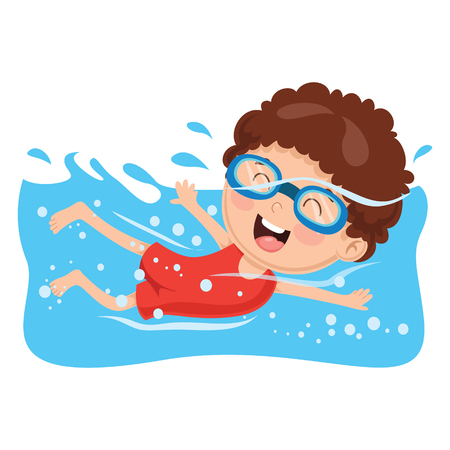 Vector Illustration Of A Kid Swimming