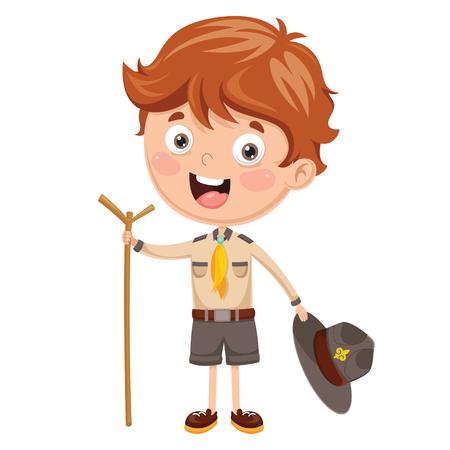 Cartoon Illustration Of A Scout Kid. Illustration