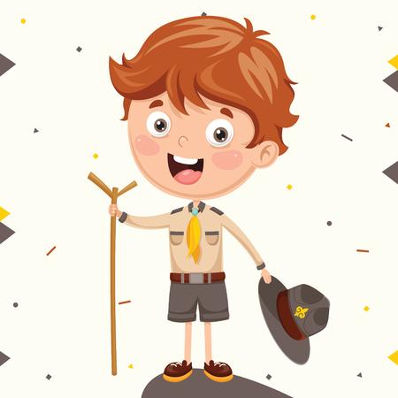 Ilustración de dibujos animados de un niño Scout.