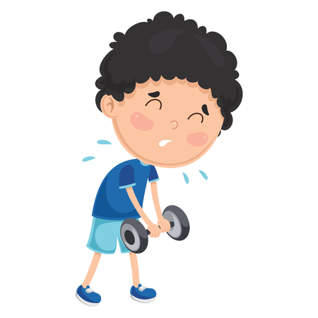 Cartoon Illustration Of A Boy With Dumbbell.