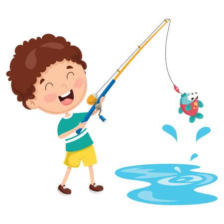 Cartoon Illustration Of A Kid Fishing.