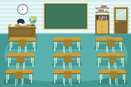 Vector Illustration Of Kids Classroom.
