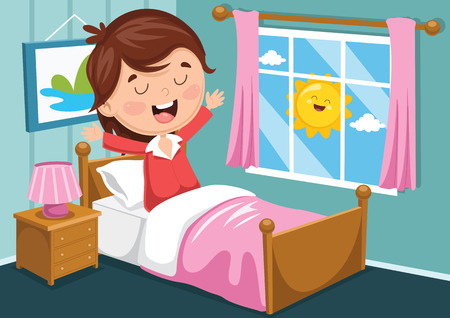 Vector Illustration Of Kid Waking Up Иллюстрация