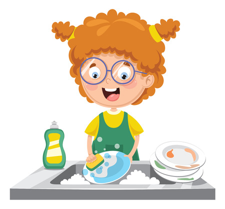 A Vector Illustration Of Kid Washing Dishes