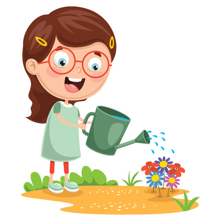 Vector illustration of kid with sunglasses watering flowers.