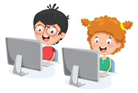 A Vector Illustration Of Kids With Computer Vettoriali