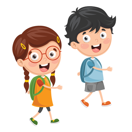 A Vector Illustration Of Kids Going To School
