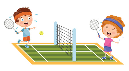 A Vector Illustration Of Kids Playing Tennis Illustration