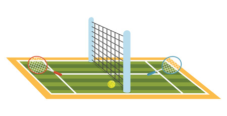 A Vector Illustration Of Tennis Court Ilustração