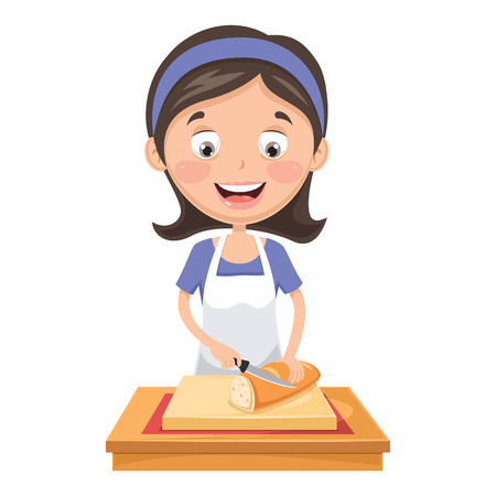 A Vector Illustration Of Woman Cutting Bread