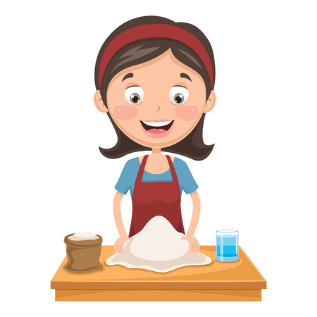 A Vector Illustration Of Woman Kneading Dough