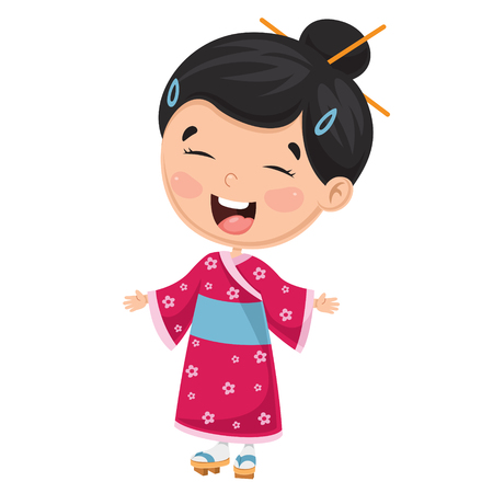 Vector Illustration Of A Japanese Kid