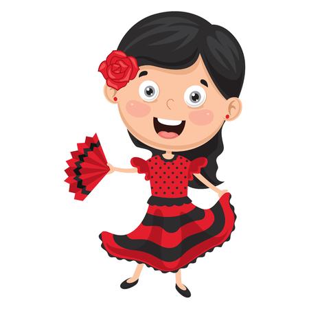 Vector Illustration Of Flamenco Dancer 일러스트