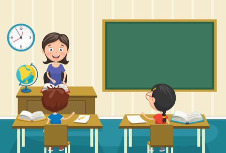 Vector Illustration Of A Teacher Teaching