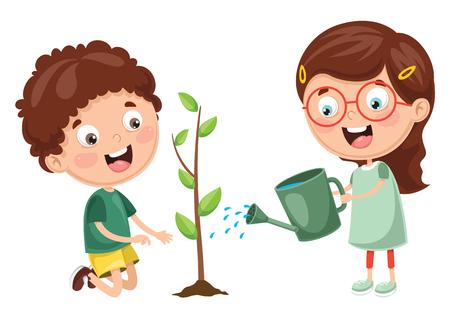 Ilustracja wektorowa dzieci sadzenia i podlewania roślin