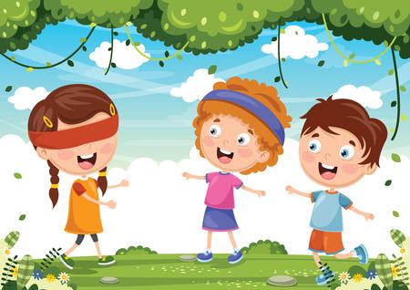 Vector Illustration Of Kids Playing Blind Mans Buff Illustration