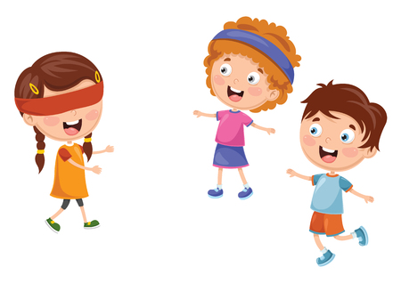 Vector Illustration Of Kids Playing Blind Man's Buff