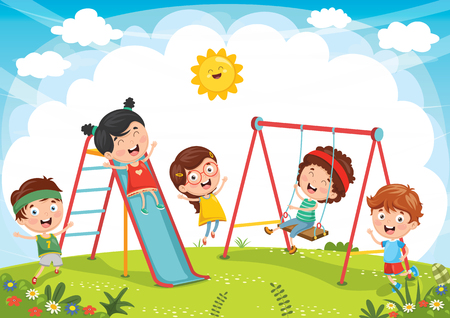 Vector Illustration Of Kids Playing in slide and swing set