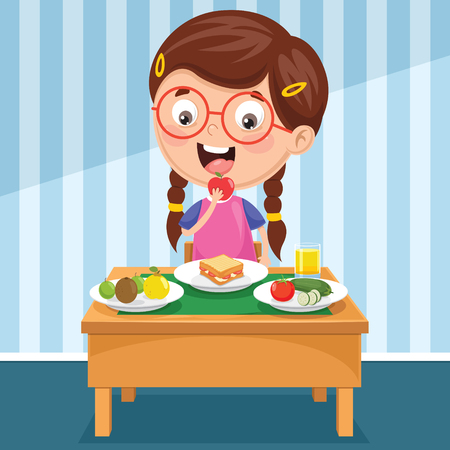 Vector Illustration Of Kid Having Breakfast 免版税图像 - 97363869