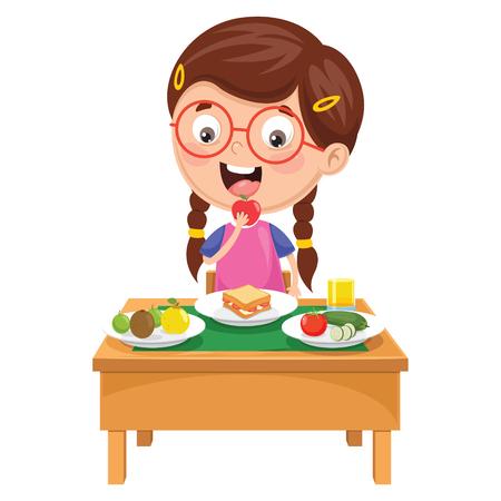Ilustracja wektorowa dziecka śniadanie Ilustracje wektorowe