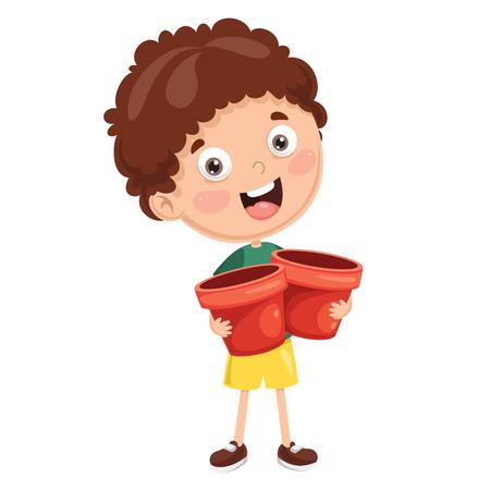 Vector Illustration Of Kid Planting