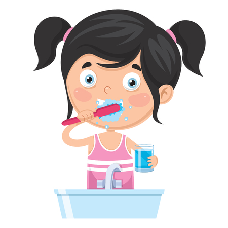 Vector Illustration Of Kid Brushing Teeth on white background. Illusztráció