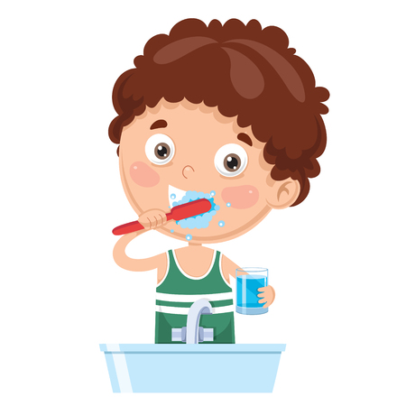 Vector Illustration Of Kid Brushing Teeth