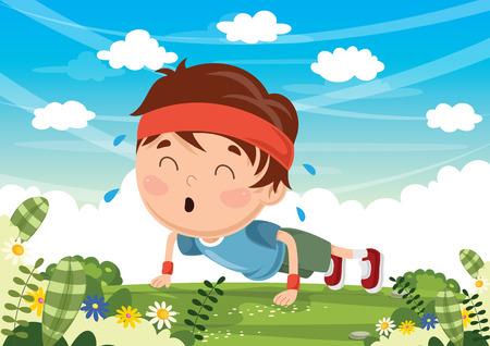 Vector Illustration Of Kid Pushing Up
